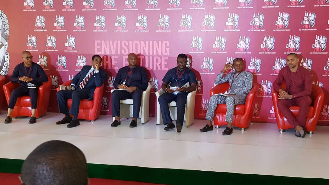 L-R: Victor Ehikhamenor; Former Governor of Cross River State, Donald Duke; Tayo Amusan; Lancelot Oduwa Imasuen with other panelists at the Creative Industryg Session of the Alaghodaro Investment Summit in Benin City, on Saturday, November 11, 2017